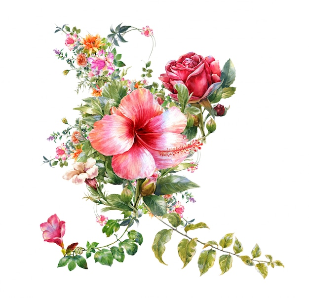 Aquarelle de feuilles et de fleurs,