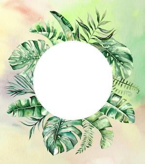 Aquarelle feuilles tropicales cercle cadre illustration avec fond aquarelle