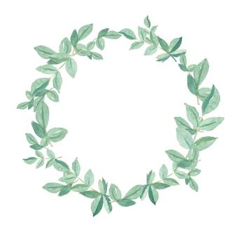 Aquarelle de feuilles vertes peintes à la main encadrent une couronne de cercle naturel
