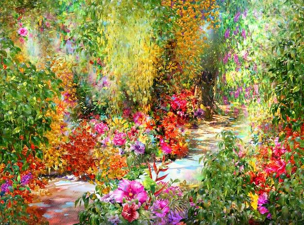 Aquarelle de fleurs abstraites. fleurs multicolores de printemps