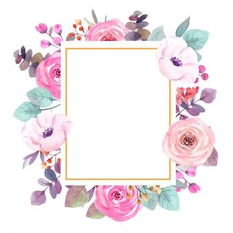 Aquarelle fleurs cadre carte de voeux