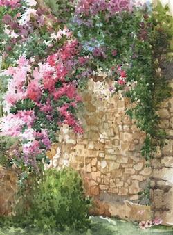 Aquarelle de fleurs colorées abstraites. printemps avec bâtiments et murs