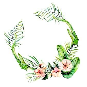 Aquarelle fleurs exotiques roses et palmiers tropicaux cadre frontière, guirlande, peint à la main sur un fond blanc