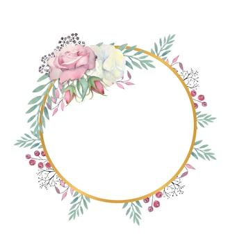 Aquarelle fleurs roses blanches et roses