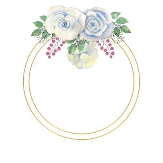 Aquarelle fleurs roses blanches