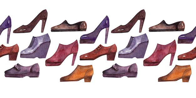 Aquarelle fond frontière avec différentes sortes de chaussures de saison