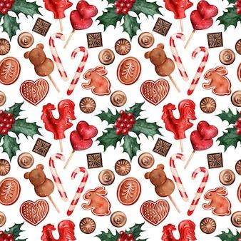 Aquarelle fond image bonbons de vacances de noël
