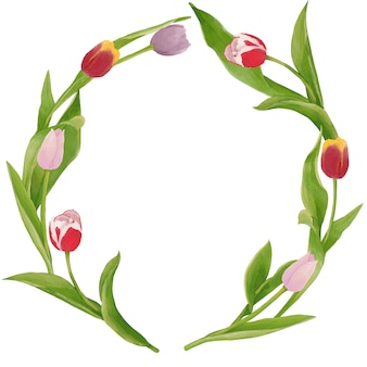 Aquarelle fond de tulipes