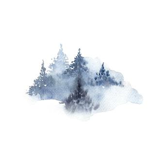Aquarelle de forêt nuageuse d'hiver isolé sur blanc