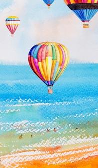 Aquarelle illustration marin coloré de en été