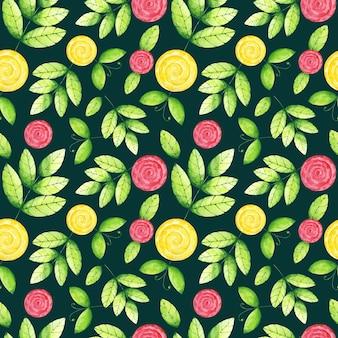 Aquarelle laisse un modèle sans couture de fleurs sur fond vert foncé.