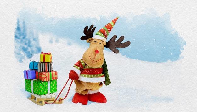 Aquarelle mignon wapiti de noël avec des coffrets cadeaux sur le traîneau sur fond de paysage enneigé. cerf de noël avec des cadeaux. carte de vacances.