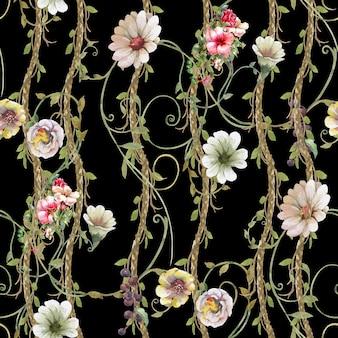 Aquarelle de modèle sans couture de feuilles et de fleurs sur fond sombre