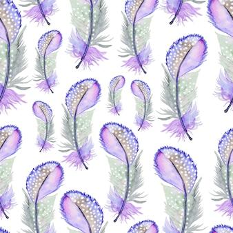 Aquarelle modèle sans couture avec des plumes