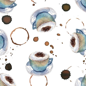 Aquarelle modèle sans couture avec des tasses à café et des marques de café