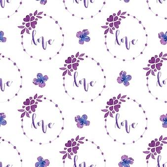Aquarelle motif floral sans soudure.