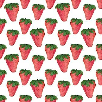 Aquarelle motif fraise.