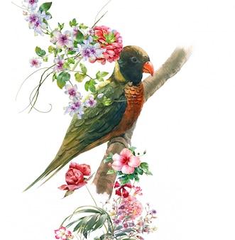 Aquarelle avec oiseau et fleurs, blanc