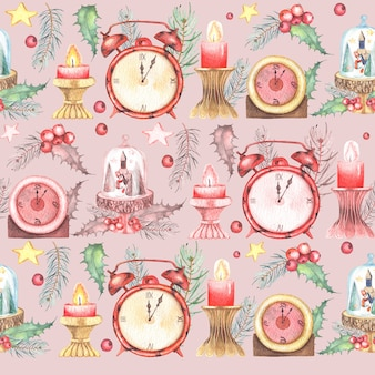 Aquarelle peint modèle sans couture de noël avec des horloges et des bougies de fleurs d'hiver.
