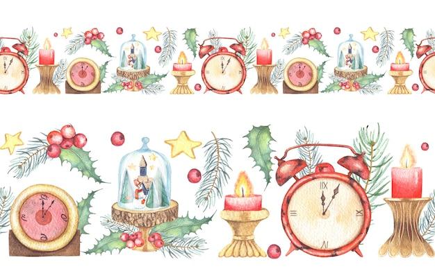 Aquarelle peinte frontière transparente de noël avec des horloges et des bougies de fleurs d'hiver.