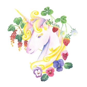 Aquarelle peinte à la main belle licorne entourée de baies et de fleurs de forêt