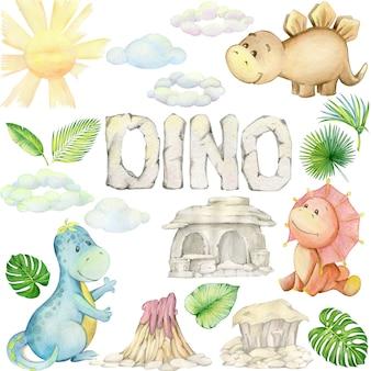 Aquarelle, petit dinosaure. ensemble isolé