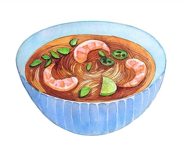 Aquarelle pho soupe de crevettes vietnamienne isolé sur fond blanc.