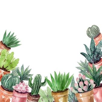 Aquarelle photo cadres et sets de cactus au printemps