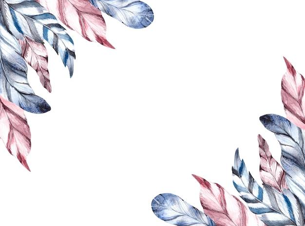 Aquarelle de plumes bleues et rouges sur fond blanc.