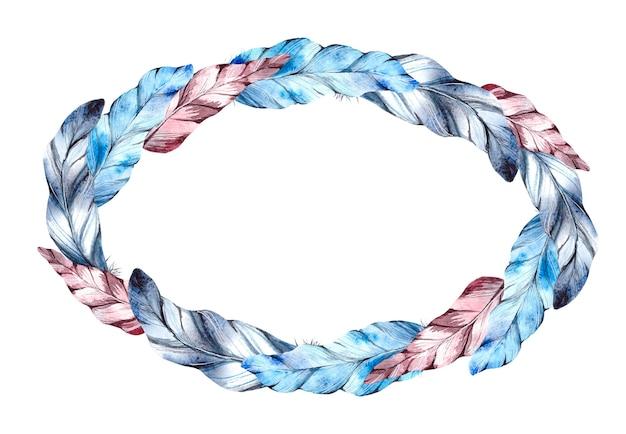 Aquarelle ronde plumes bleues et rouges sur fond blanc.
