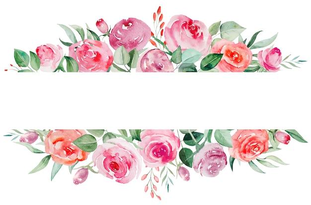 Aquarelle de roses roses et rouges fleurs et feuilles cadre géométrique