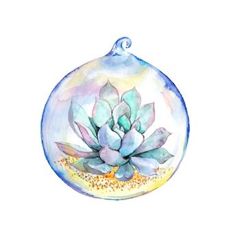 Aquarelle succulente en boule de verre