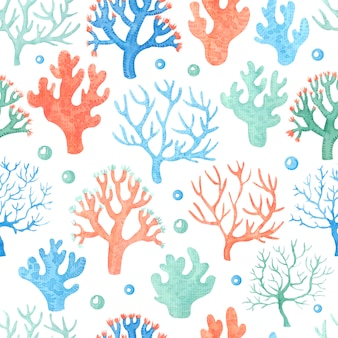 Aquarelle transparente motif avec des coraux.