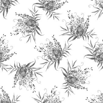 Aquarelle transparente motif de fleurs d'été et de feuilles sur fond clair.