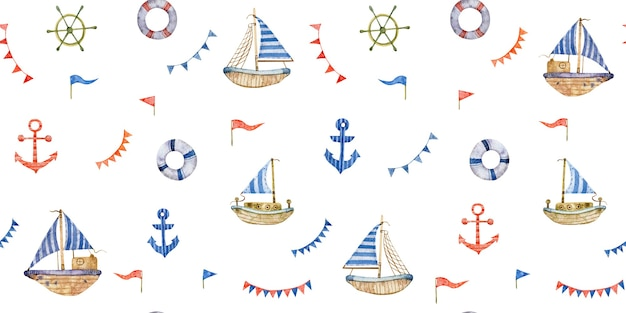 Aquarelle transparente motif nautique avec des bouées de sauvetage sailboatsanchors isolés sur fond blanc