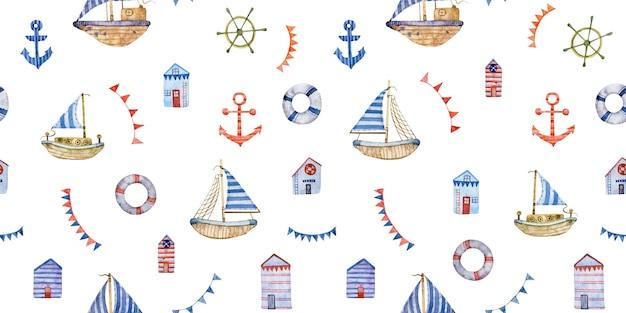 Aquarelle transparente motif nautique voilier ancre roue bouées de sauvetage isolés sur fond blanc