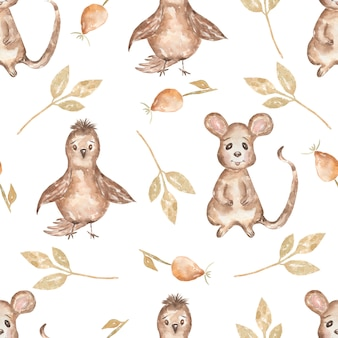Aquarelle transparente motif oiseau et feuilles, souris et chien rose. fond d'animaux des bois dessinés à la main. modèle d'automne.
