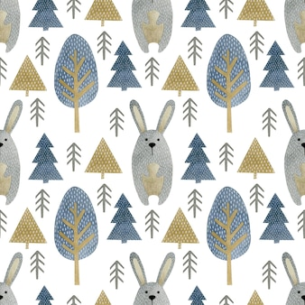 Aquarelle transparente motif de sapins lapin dans le style scandinave