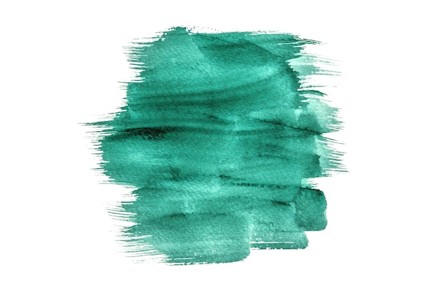 Aquarelle verte abstraite isolée sur fond blanc, peinture à la main sur le papier.