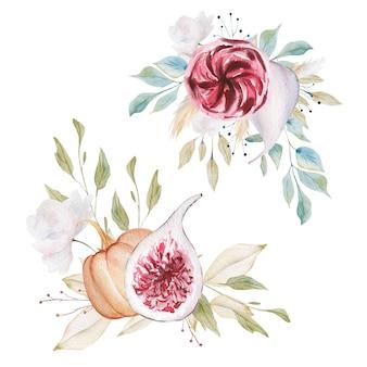 Aquarelles compositions florales