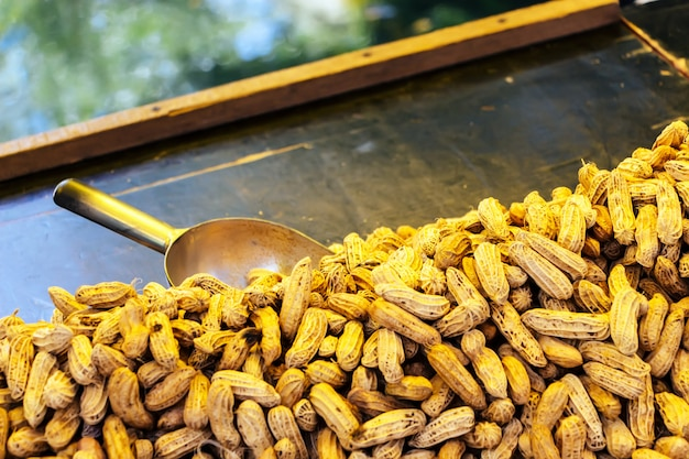 Les arachides ont bouilli sur le marché thaïlandais.