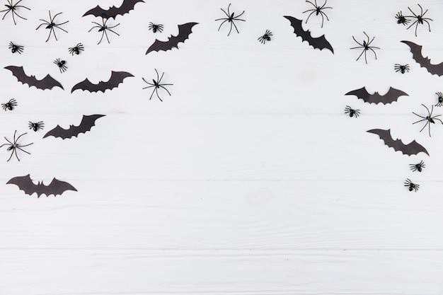 Araignées et chauves-souris sur bois blanc