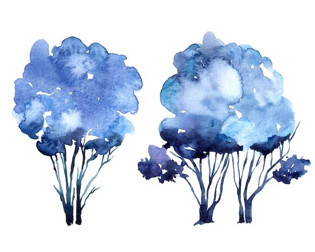 Arbre aquarelle dessiné à la main arbre aquarelle d'hiver