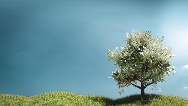 Arbre d'argent 3d sur terrain en herbe avec illustrations de ciel bleu