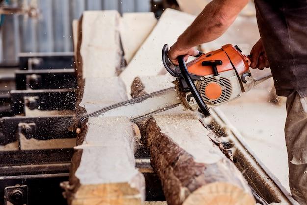 Arbre de coupe de bûcheron avec tronçonneuse sur scierie. scierie moderne. panneaux de sciage industriels à partir de grumes.