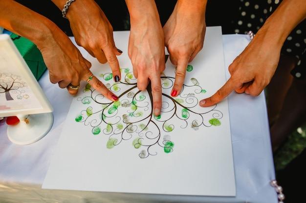 Arbre d'empreintes dans un mariage avec des doigts de personnes peignant.