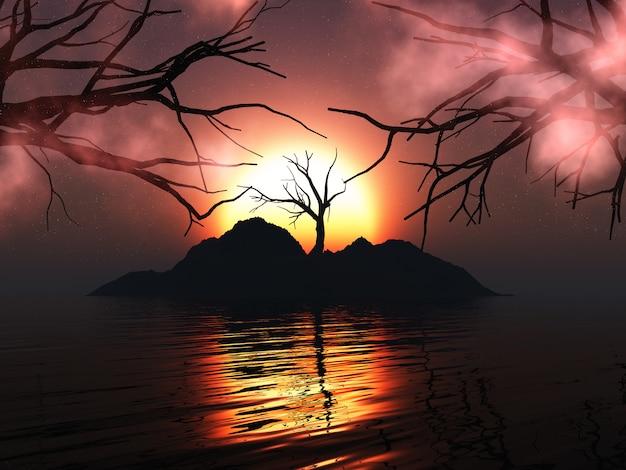 Arbre fantasmagorique 3d sur une île avec un ciel de coucher de soleil