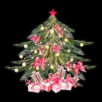 Arbre de noël aquarelle peint à la main avec des boules de couleurs jaunes, des cloches, des arcs, des coffrets cadeaux, des étoiles. décoration du nouvel an. illustration