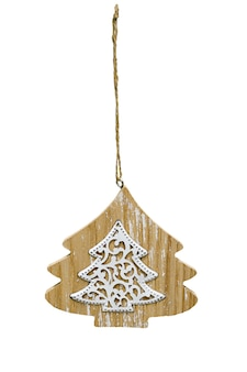 Arbre de noël en bois arbre de noël jouet isolé sur fond blanc