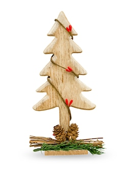 Arbre de noël en bois, jouet d'arbre de noël isolé sur fond blanc. photo de haute qualité